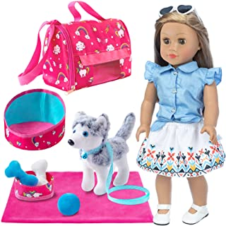 Ecore Fun 11 Piece Doll Pet Set and Accessories Included Doll Clothes Carrier Bag Toy pet Toy Kennel Etc Perfect for Ameri...