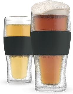 Host Freeze Beer Gl, 16 ounce Freezer Gel Chiller Double Wall Plastic Frozen Pint Glass, Set of 2, Black