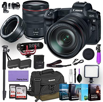 $2999 » Canon EOS R Mirrorless Digital Camera with 24-105mm f/4L is USM Lens and Canon Mount Adapter EF-EOS R kit Bundled with Deluxe Accessories (Rode Microphone, 4-Pack Photo Editing Software and More.)