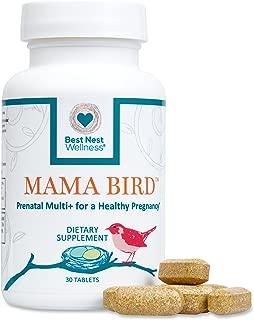 Mama Bird Prenatal Multivitamin, Methylfolate (Folic Acid), Methylcobalamin (B12), 100% Natural Whole Food Organic Herbal Blend, Vegan, Once Daily Prenatal Vitamins, 30 Ct, Best Nest Wellness