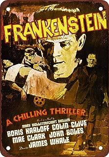 Ohuu 8×12 Frankenstein Tin Wall Signs Retro Iron Painting Metal Poster Warning Plaque Art Decor for Garage Home Garden Store Bar Café