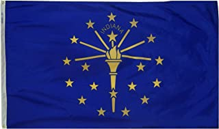 Annin Flagmakers Model 141660 Indiana State Flag 3x5 ft. Nylon SolarGuard Nyl-Glo 100% Made in USA to Official State Design Specifications.