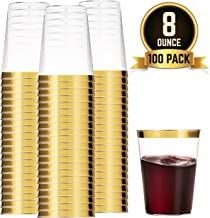 100 Gold Plastic Cups 8 Oz Clear Plastic Cups Tumblers Gold Rimmed Cups Fancy Disposable Wedding Cups Elegant Party Cups with Gold Rim