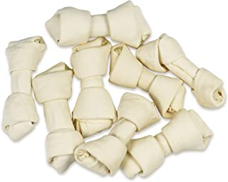 Hotspot Pets 4 Inch Rawhide Dog Chew Bones - from Grass Fed Brazilian Cows with No Hormones, Additives or Chemicals - All Natural Beef Rawhide
