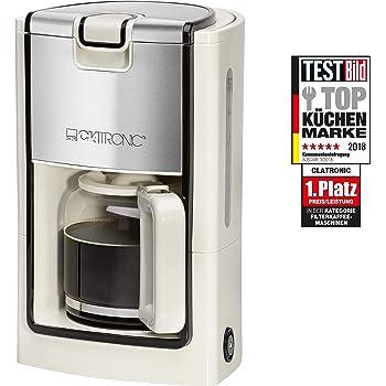 Clatronic KA 3558 Cafetera eléctrica de goteo, capacidad 8 a 10 tazas, 900 W, 1.2 litros, acero inoxidable, Crema y plata: Clatronic: Amazon.es: Hogar