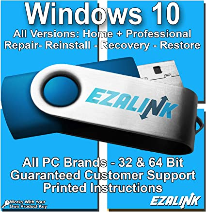 Compatible With Windows 10 Reinstall Recovery Repair Restore Boot Fix USB | Professional & Home 32 & 64 Bit ALL Brands HP, Dell, etc. [Instructions & Support]