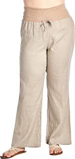 Women's Plus Size Full Length fold Over 100% Linen Pants with Drawstring tie (Plus Size)
