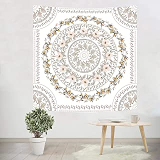 Simpkeely Sketched Floral Medallion Tapestry, Mandala Bohemian Wall Hanging Tapestries, Indian Art Print Mural for Bedroom Living Room Dorm Home Décor (59.1