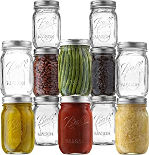 Ball Regular Mouth Mason Jars (16 oz/Capacity) [12 Pack] with Airtight lids and Bands. For Canning, Fermenting, Pickling -...