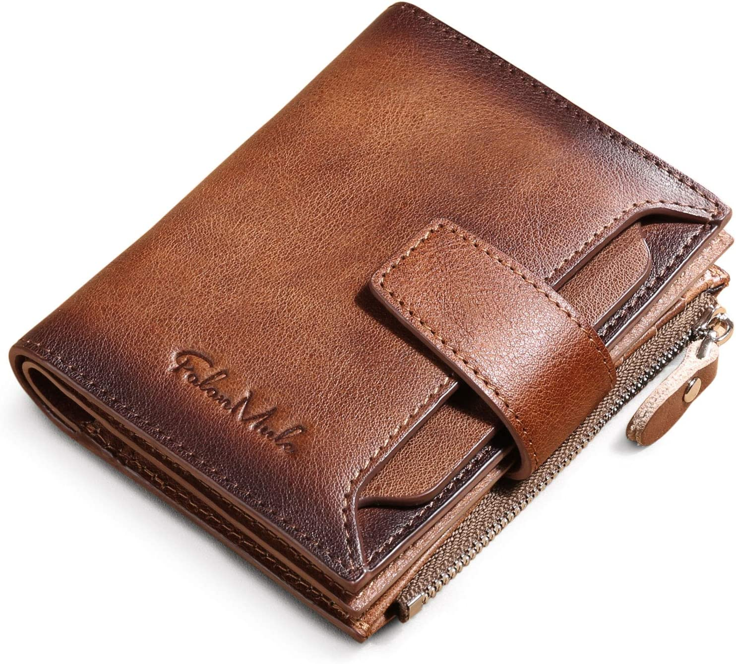 Men's Genuine Leather Wallet RFID Blocking Bifold Casual Wallet Large Capacity Zip Coin Pocket with 18 Card Slots & Removable Id Window