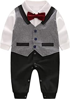 D.B.PRINCE Newborn Baby Boy Suit Formal Clothes Baptism Gentleman Tuxedo Outfits Cotton Rompers with Bow Tie