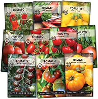 Sow Right Seeds - Tomato Seed Collection for Planting - Variety of Sizes, Shapes, Colors; Non-GMO Heirloom Packets with In...