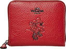 코치 X 디즈니 콜라보 미니마우스 지갑 - 레드 COACH Small Zip Around Wallet