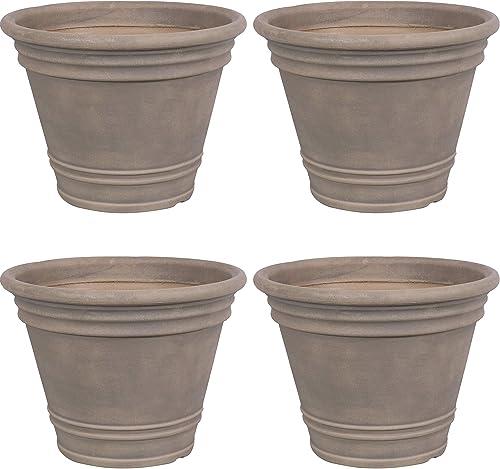 Sunnydaze Franklin Flower Pot Planter - Outdoor/Indoor Unbreakable Polyresin Container - UV-Resistant Beige Finish - Set of 4 - Large 20-Inch Diameter