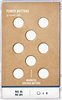 Würkin Stiffs 8 White Plastic Covered Magnetic Power Buttons - Collar Stays