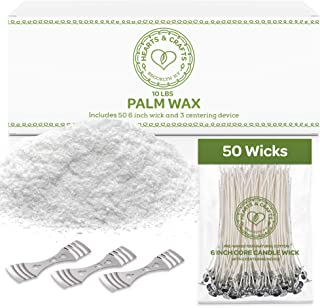 Hearts and Crafts Feathering Palm Candle Wax and Wicks for DIY Candle Making, All-Natural & RSPO Certified - 10lb Bag with...