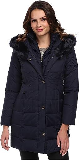 3/4 Length Down Coat w/ Soft Faux Fur Trim