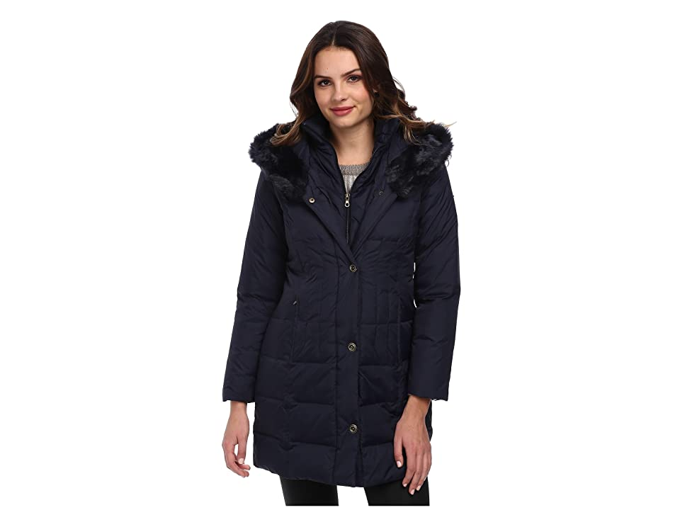Larry Levine 3/4 Length Down Coat w/ Soft Faux Fur Trim (Midnight) Women