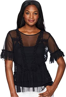 Tiered Ruffle Sleeve Hem Mesh Blouse