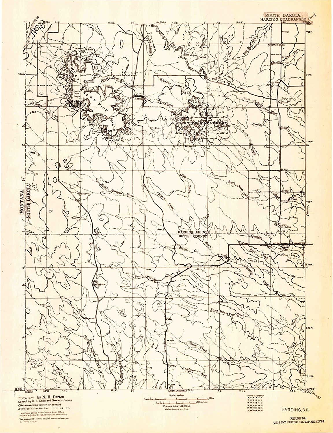 Harding SD topo map, 1 125000 Scale, 30 X 30 Minute, Historical, 1935, 20.7 x 15.9 in
