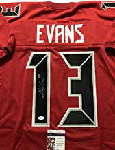 Autographed/Signed Mike Evans Tampa Bay Red Color Rush Football Jersey JSA COA