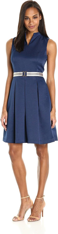 Ellen Tracy Womens Pique Fit and Flare Dress with Grosgrain Belt Dress