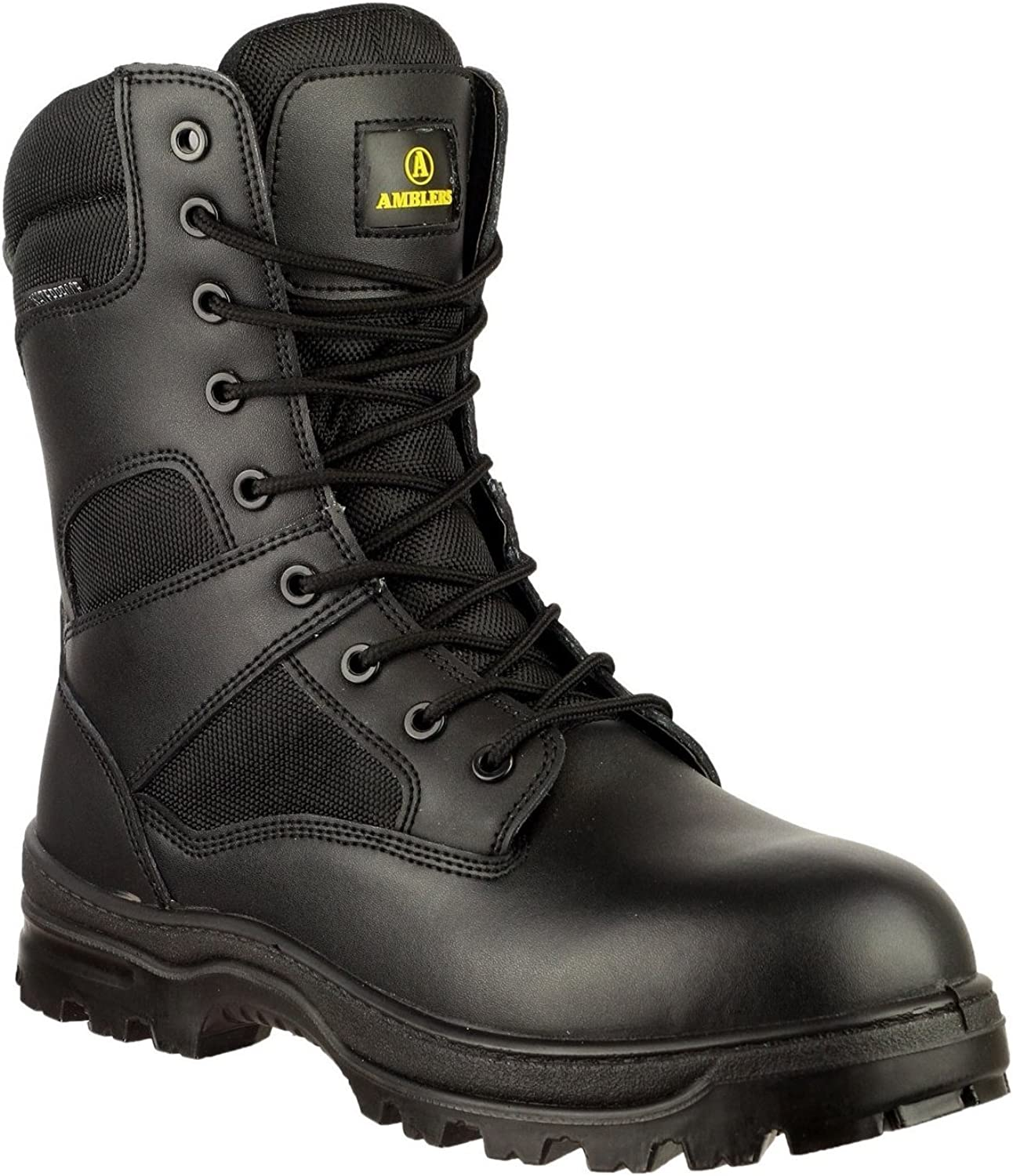 Amblers Mens Waterproof Black Leather Metal Free Combat Boots Sizes 7 to 14