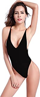 SHEKINI Women's High Cut One Piece Backless Thong Brazilian Bikini Swimsuits