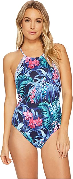 Tommy Bahama - Majorelle Jardin Reversible High-Neck One-Piece Swimsuit