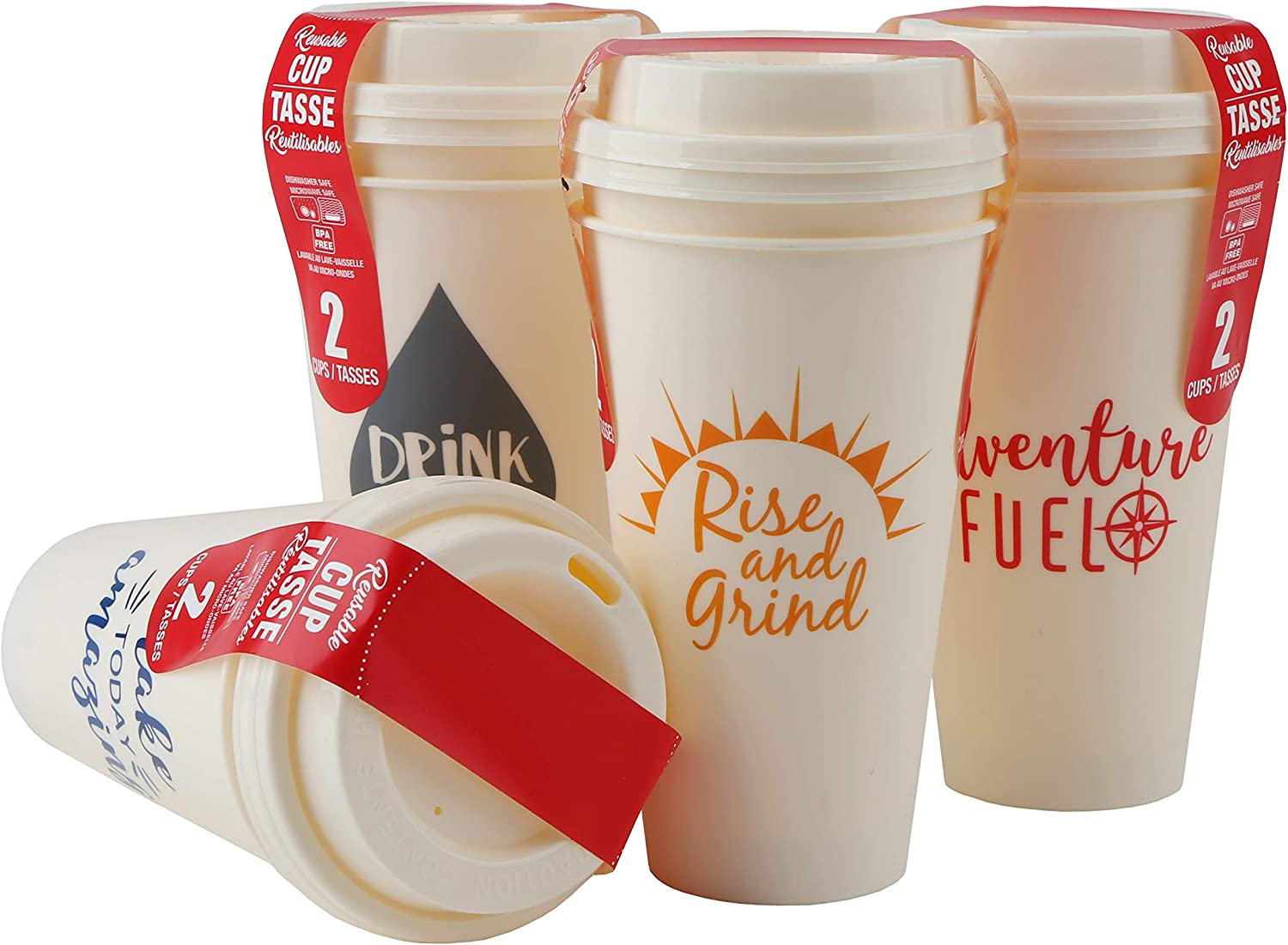 Take It To Go with Lids Reusable Plastic Travel Cups 16 ounce- 8PCS