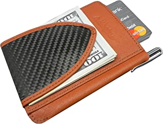Billetus MagMaxx Men's Genuine Leather and Carbon Fiber Wallet BROWN