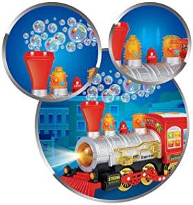 CifToys Bubble Blowing Toy Train - Battery Powered Steam Bubbles Locomotive Engine Car- Colorful Lights & Fun Sounds ...