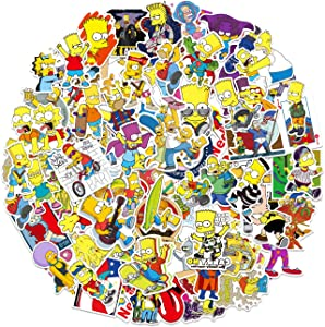 Pauplian Vinyl Stickers for Kids Adults 100 PCS Vinyl Decals Waterproof Simpsons Personality Cute Stickers for Cups Suitcase Water Bottle Laptop Cars