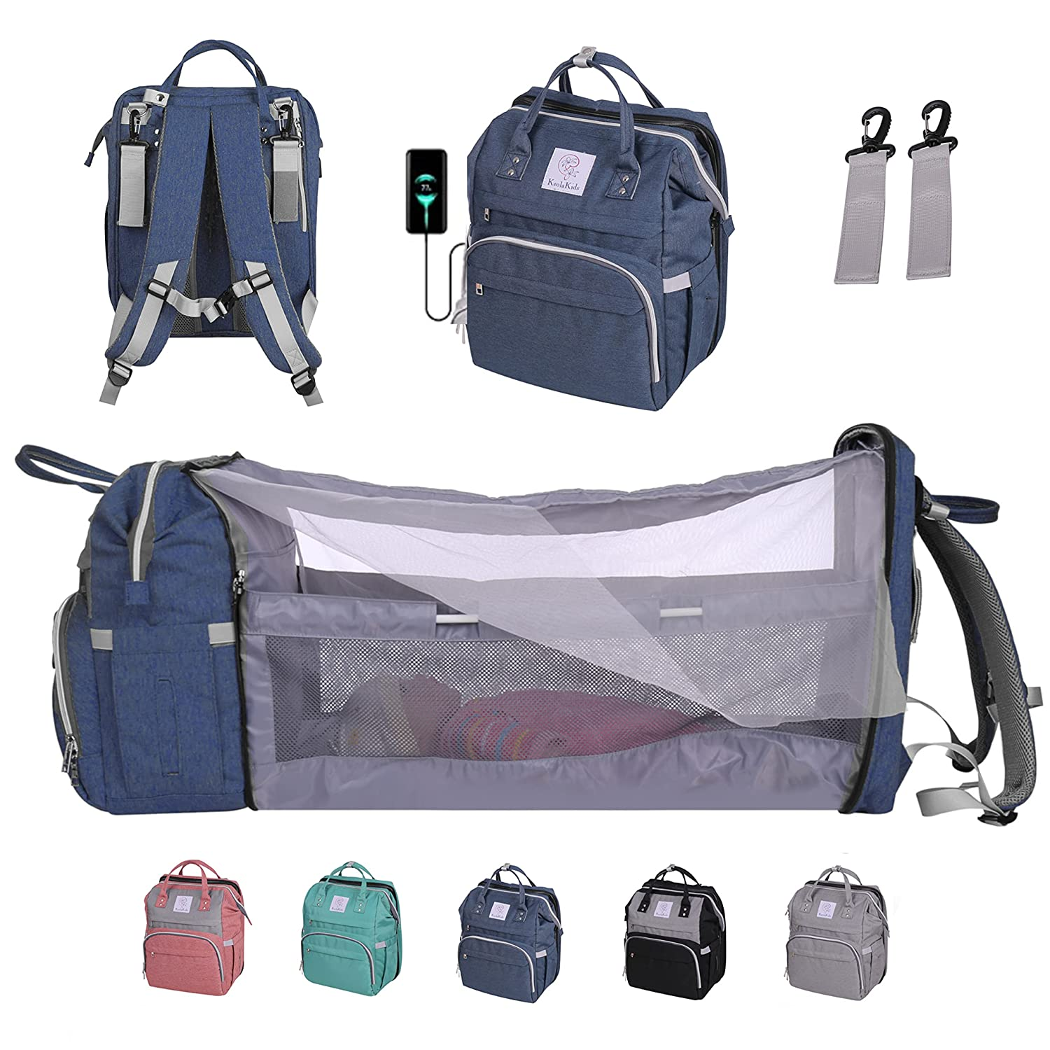 KEOLAKIDS Diaper Bag Backpack with Portable Crib Bassinet, Gift for Baby Shower, Changing Pad, Mosquito Netting, USB Port - Blue