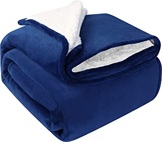 Utopia Bedding Sherpa Bed Blanket King Size Navy Plush Throw Blanket Fleece Reversible Blanket for Bed and Couch