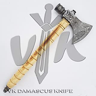 Handmade Damascus Steel Axe Hatchet Tomahawk Knife 16 Inches Axe Ash Wood Handle vk4091