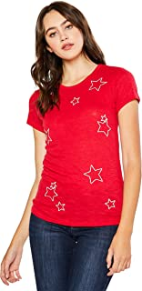 esstive Women's Ultra Soft Fleece Basic Casual Lightweight Star Embroidery T-Shirts