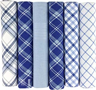 Warwick & Vance Pack Of 6 Mens/Gentlemens Check & Dyed Handkerchiefs, Blue Or Purple With Satin Stripe Borders, 100% Cotton, 40 x 40cm