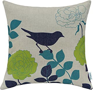 CaliTime Canvas Throw Pillow Cover Case for Couch Sofa Home Decoration Floral Cartoon Shadow Bird Silhouette 18 X 18 Inches Natural Ground Navy Bird