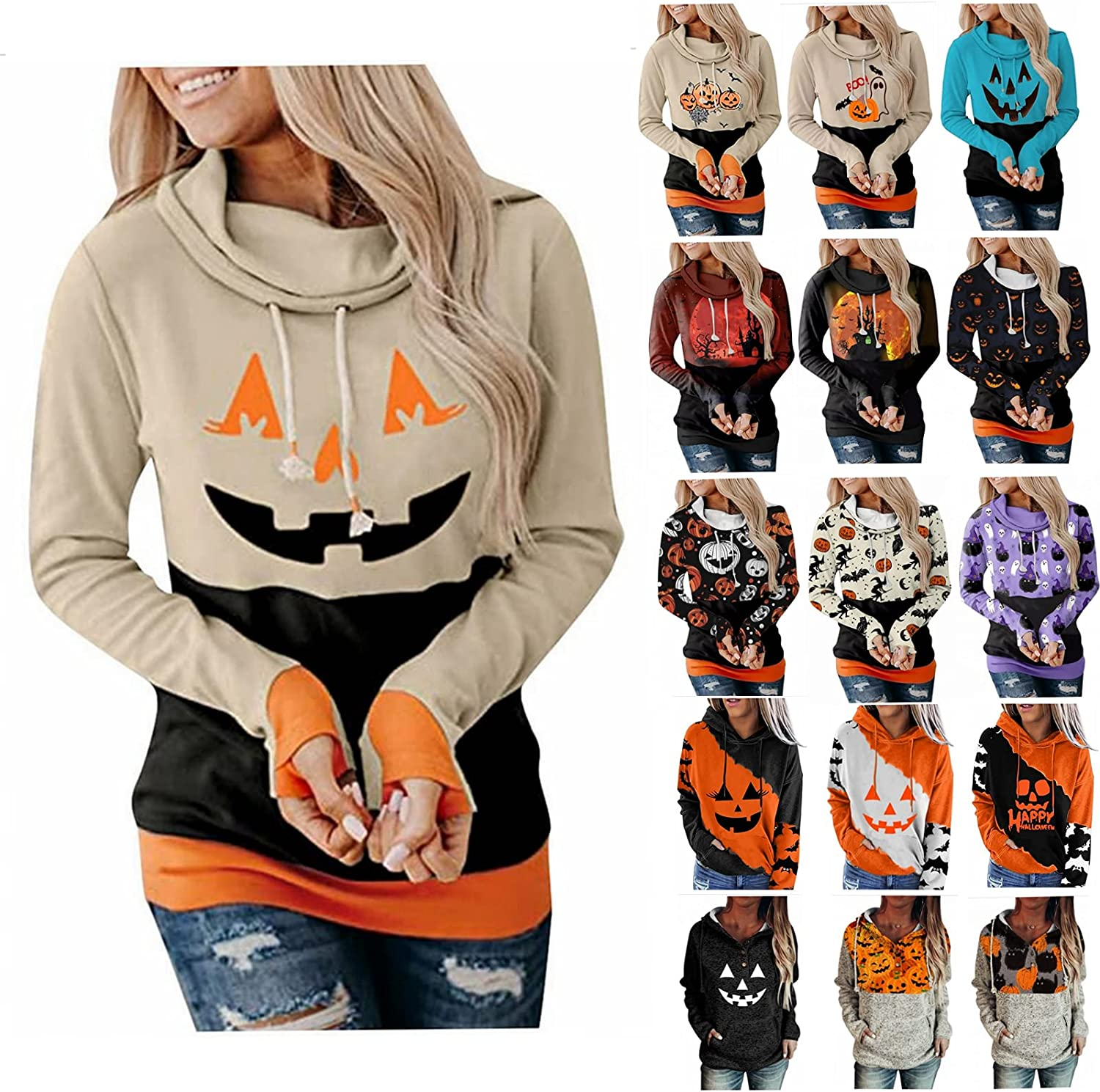 Fudule Halloween Hoodies for Women, Pumpkin Face Graphic Shirts Long Sleeve Sweatshirts Casual Loose Fit Pullover Hooded