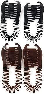 4 PCS Flexible Interlocking Banana Clip Clincher Interlocking Two Side Hair Comb(Brown-Black).