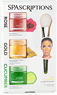 SPAscriptions ROSE, GOLD, CUCUMBER Gel Face Mask with Mask Applicator (3 packs) 1.7 FL OZ Each