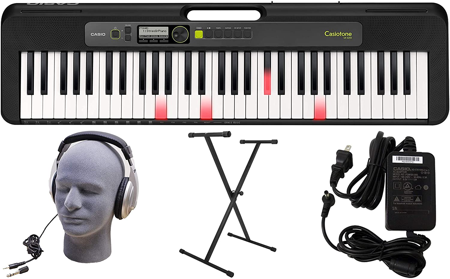Limited time for free shipping Casio LK-S250 61-Key Premium Lighted with H 2021 model Keyboard Pack Stand