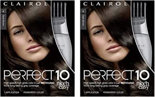 Clairol Nice'n Easy Perfect 10 Permanent Hair Color, 4 Dark Brown, Pack of 2