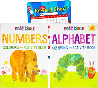 Eric Carle Activity and Coloring Book Set ~ 2 Eric Carle Kids Activity Books Featuring Alphabet and Number Learning with D...