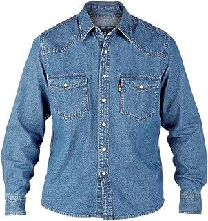 DUKE London Da Uomo King Size BIG TALL Manica Lunga Western Denim Camicia Top