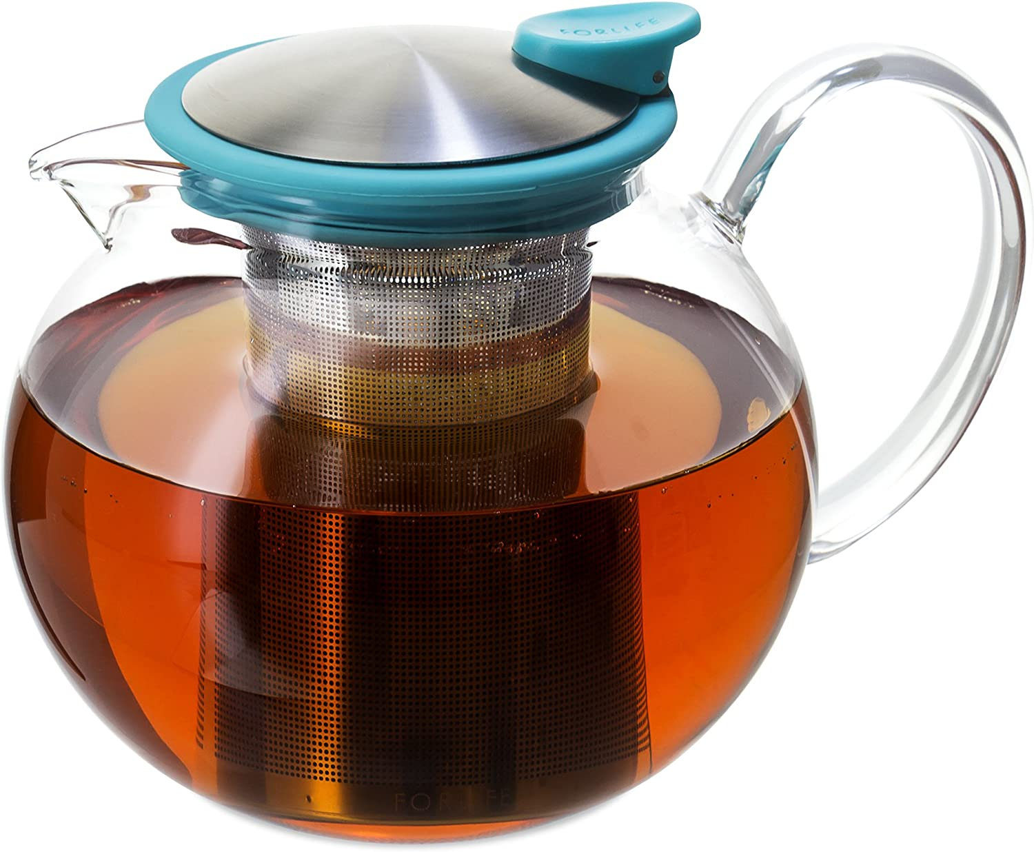 FORLIFE Bola Glass Teapot with Basket Infuser, 38 oz, Turquoise