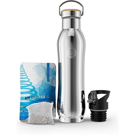 pH ACTIVE Insulated Water Bottle - Filtered Alkaline Water Bottle - Stainless Steel Water Bottle - Includes Alkaline Water Filter, Plus Sports Gym Lid - Double Walled Metal - NEW 2019 Model, 22o