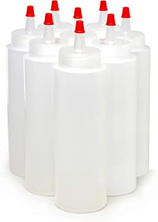 Bastex 8-Ounce Plastic Squeeze Bottles Pack of 8. Clear Bottles with Yorker Red Caps. Perfect for Arts and Crafts Food Glue Paint or Any DIY Liquids. Multiple Purpose Refillable, Reusable Containers.