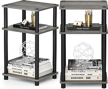 STAR WORK MDF Engineered Wood Multipurpose 3 Tier Floor Wall Standing End Table and Shelf